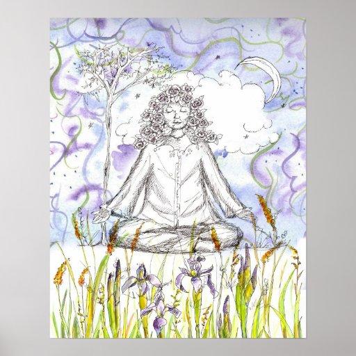 Íris selvagem Botanicals da meditação do zen do po Posters