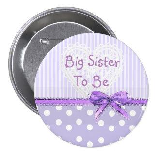Irmã mais velha a ser botão do chá de fraldas: bóton redondo 7.62cm