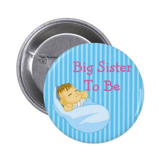 Irmã mais velha azul a ser botão do chá de fraldas bóton redondo 5.08cm