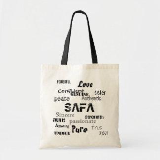 irmã, SAFA, puro, poderoso, tia, amor, paz… Sacola Tote Budget