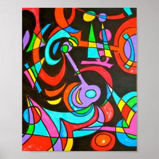 Irradiações cósmicas - arte abstracta pintado mão poster