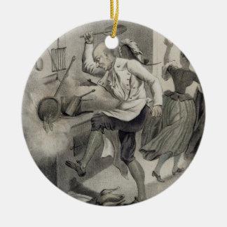 Irrite na cozinha, de uma série de depi dos ornamento de cerâmica redondo