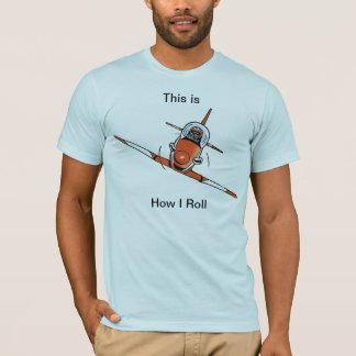 Isto é como eu rolo a camisa da aviação