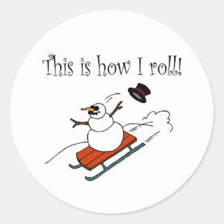 Isto é como eu rolo o boneco de neve adesivos redondos
