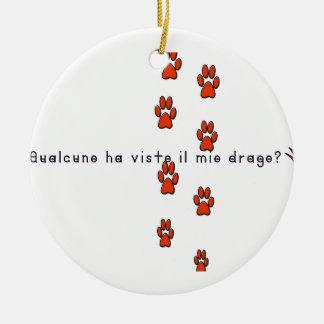 Italiano-Dragão Ornamento De Cerâmica Redondo