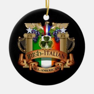 Italiano irlandês toda americano ornamento de cerâmica redondo