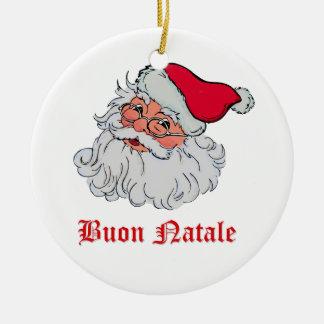 Italiano Papai Noel #2 Ornamento De Cerâmica Redondo