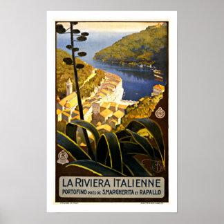Italiano Riviera - posters das viagens vintage