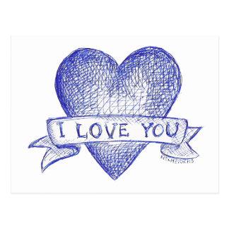 J Love You Cartoes Postais