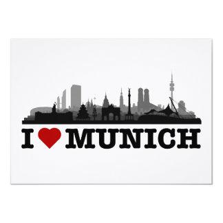 J München love cidade Skyline - Klappkarte