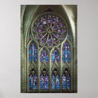 Janela cor-de-rosa da catedral posters