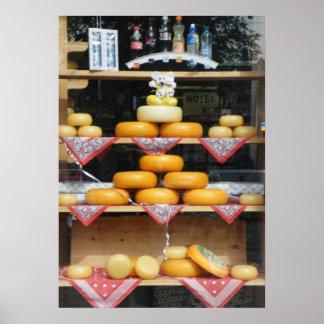Janela da loja do queijo em Amsterdão Poster
