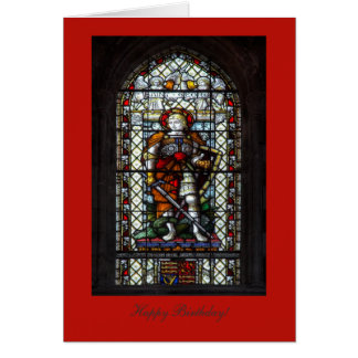 Janela de vitral de St George - feliz aniversario Cartão Comemorativo