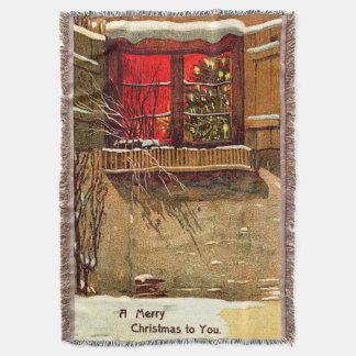 Janela iluminada por velas da árvore de Natal da Throw Blanket