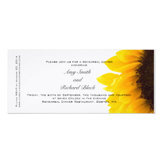 """Jantar de ensaio amarelo moderno do girassol convite 10.16"""" x 23.49cm"""