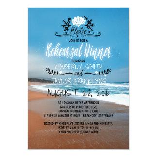 Jantar de ensaio do casamento de praia convite 12.7 x 17.78cm