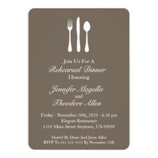 Jantar de ensaio elegante dos utensílios (Brown Convite 12.7 X 17.78cm