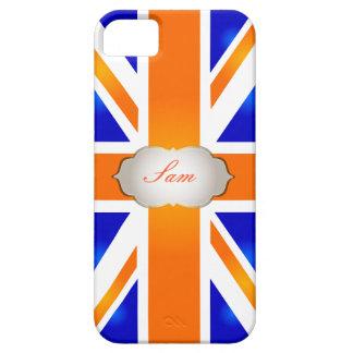 Jaque de união de PixDezines/laranja+azul Capa Barely There Para iPhone 5