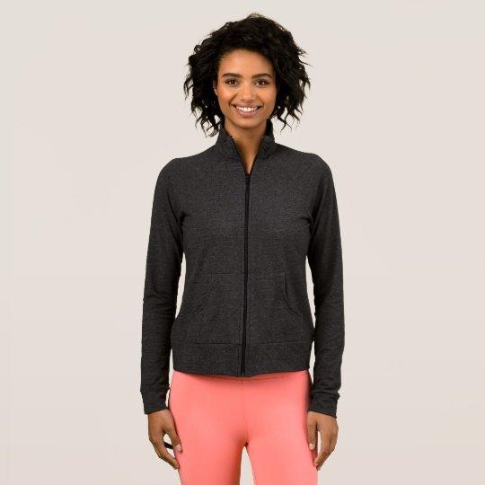 Jaqueta esportiva feminina, Cinza Escuro