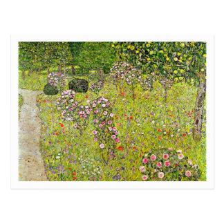 Jardim da fruta com os rosas por Gustavo Klimt Cartão Postal