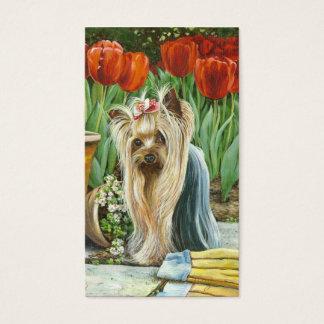 Jardim da tulipa do yorkshire terrier cartão de visitas
