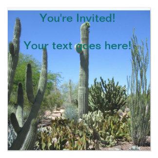 Jardim do cacto da arizona convite quadrado 13.35 x 13.35cm