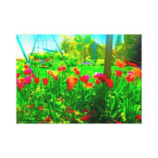 Jardim do quintal impressão em canvas