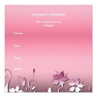 Jardim floral do rosa do aniversário do convite &