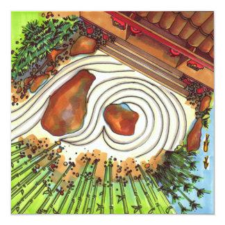 Jardim japonês convite quadrado 13.35 x 13.35cm
