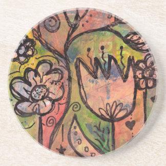 Jardim lunático do país das fadas do primavera porta copos de arenito