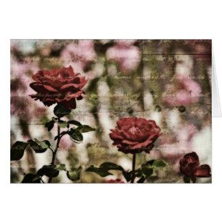 Jardim romântico das rosas vermelhas cartão comemorativo