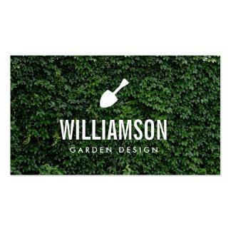 Jardinagem branca das folhas do verde da pá do cartão de visita