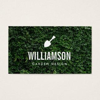 Jardinagem branca das folhas do verde da pá do cartão de visitas