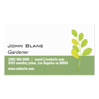 Jardineiro verde da folha cartão de visita