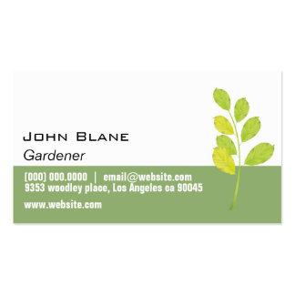 Jardineiro verde da folha modelos cartões de visita