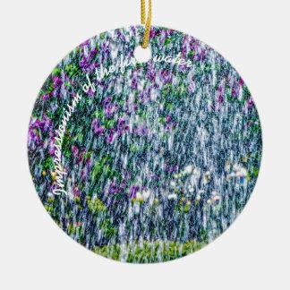 Jatos de Fointain e flores do lilac Ornamento De Cerâmica Redondo