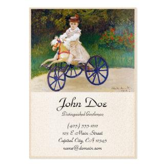 Jean Monet em um cavalo mecânico Claude Monet Cartão De Visita Grande