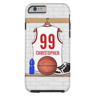 Jérsei branco e vermelho personalizado do capa tough para iPhone 6
