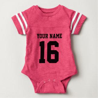Jérsei de equipe do bebê com nome e número camiseta