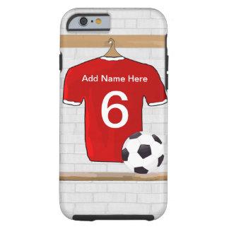 Jérsei de futebol vermelho e branco personalizado capa tough para iPhone 6