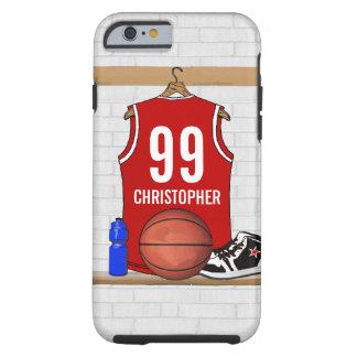 Jérsei vermelho e branco personalizado do capa para iPhone 6 tough