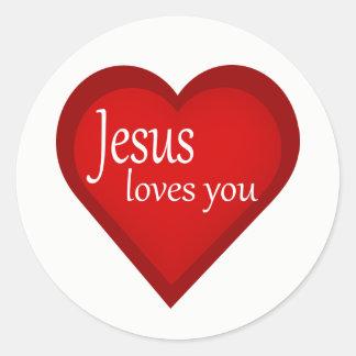 Jesus ama-o etiqueta do afirmativo do coração