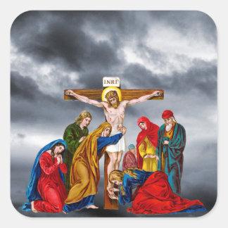 JESUS CRISTO NA CRUZ ADESIVO QUADRADO