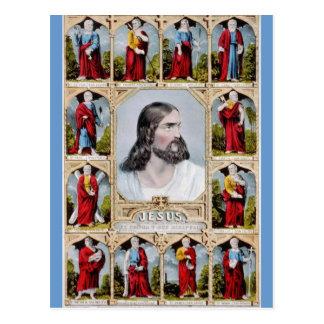 Jesus e o cartão dos apóstolos cartão postal