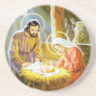 Jesus na natividade do Natal do comedoiro Porta-copos De Arenito