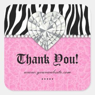Jewels o obrigado do rosa do coração do laço da adesivo quadrado