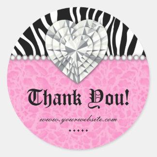 Jewels o obrigado do rosa do coração do laço da adesivo