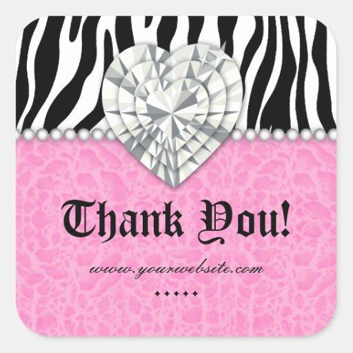 Jewels o obrigado do rosa do coração do laço da pé adesivos quadrados