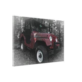Jipe vermelho com fundo preto e branco impressão em tela