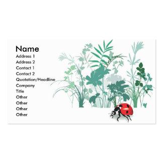 Joaninha com cartões de visitas das hortaliças